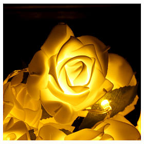 Light cable 20 leds white roses s4