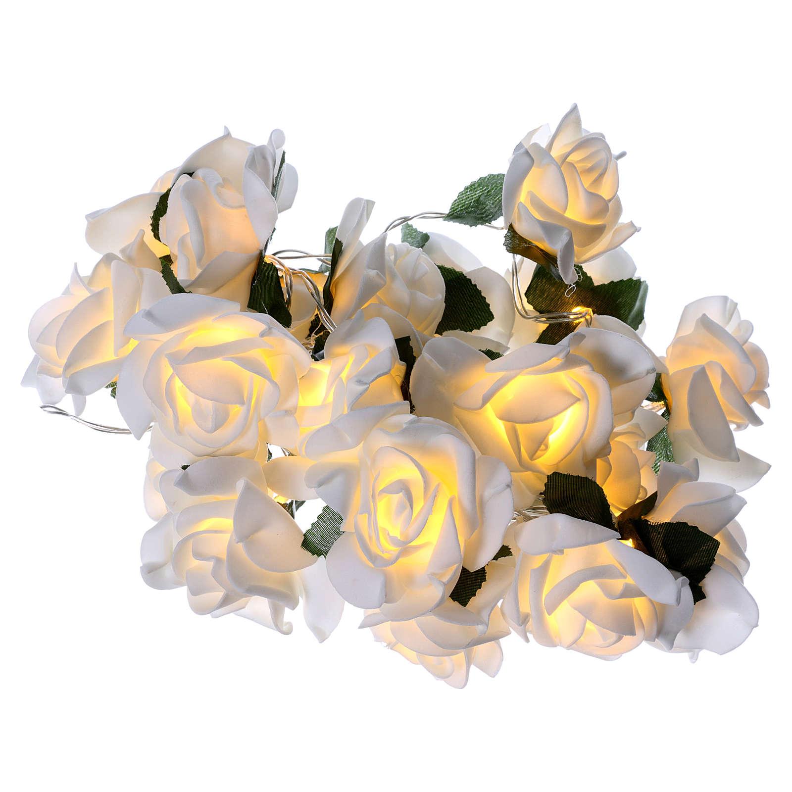 Cadena 20 led rosas blancas 3