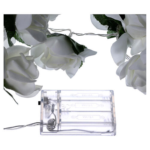 Light cable 20 leds white roses 6