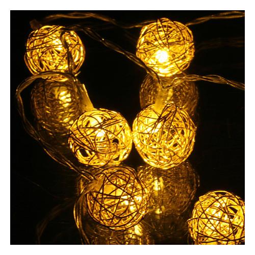 Luces Navidad ovillo 10 led blanco cálido para interior 1m 3