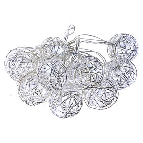 Christmas lights ball metal 10 leds ice white internal use s1