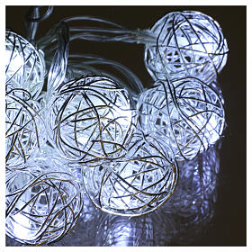 Christmas lights ball metal 10 leds ice white internal use s3