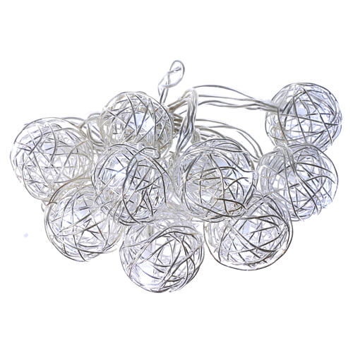 Christmas lights ball metal 10 leds ice white internal use 1