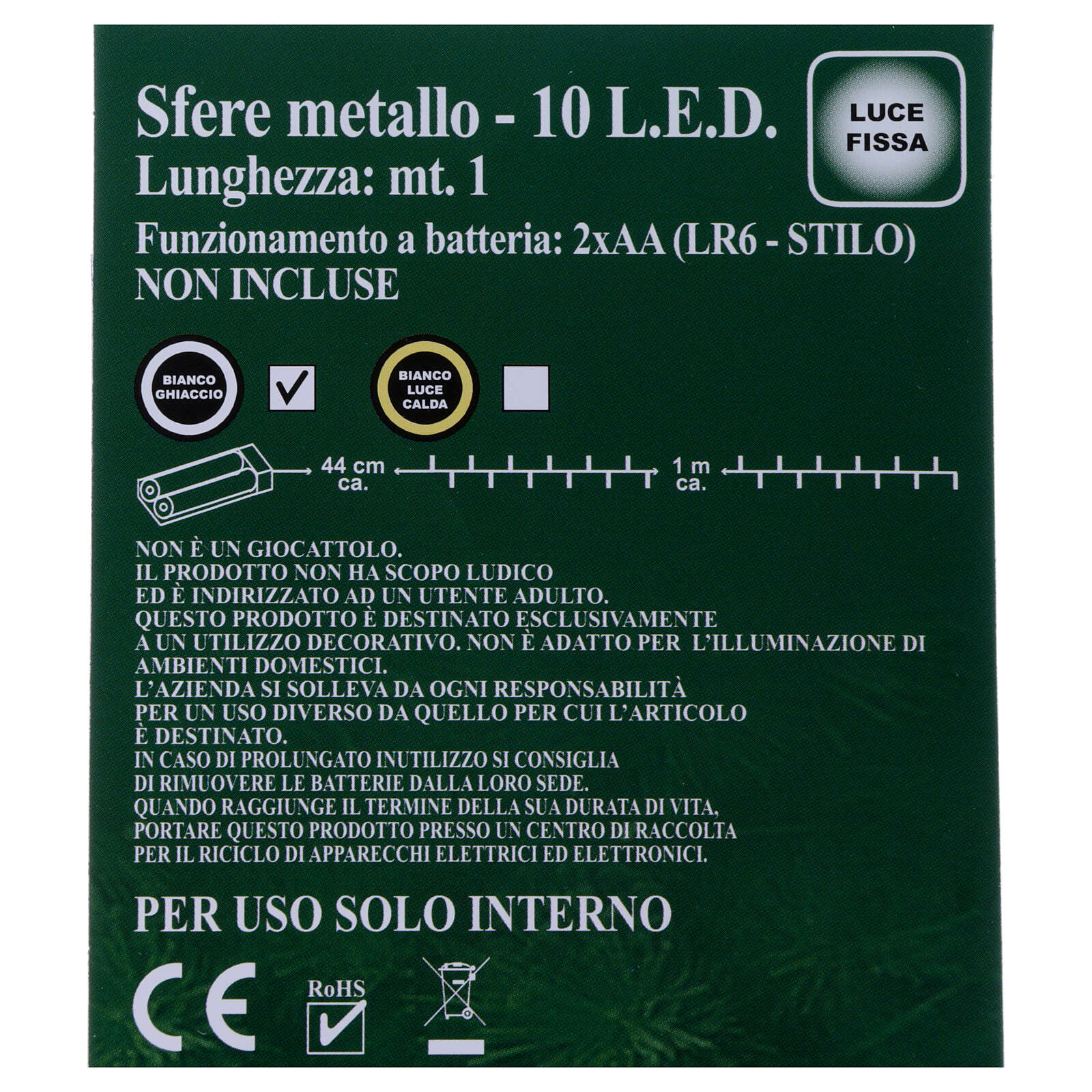 Luces Esferas ovillo metal 10 led Blanco hielo uso interno 3