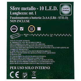 Luces Esferas ovillo metal 10 led Blanco hielo uso interno s5