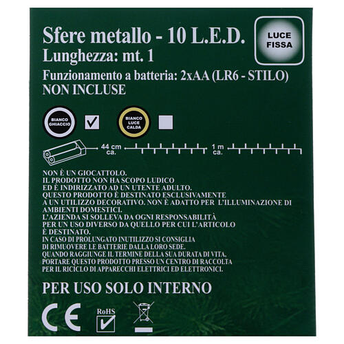 Luces Esferas ovillo metal 10 led Blanco hielo uso interno 5