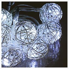 Luci Sfere gomitolo metallo 10 led Bianco ghiaccio uso interno s3