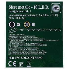 Luci Sfere gomitolo metallo 10 led Bianco ghiaccio uso interno s5