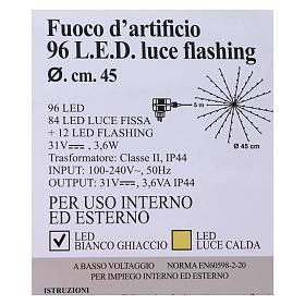 Luce Natalizia Fuoco Artificio 96 Led Ghiaccio interno esterno s5