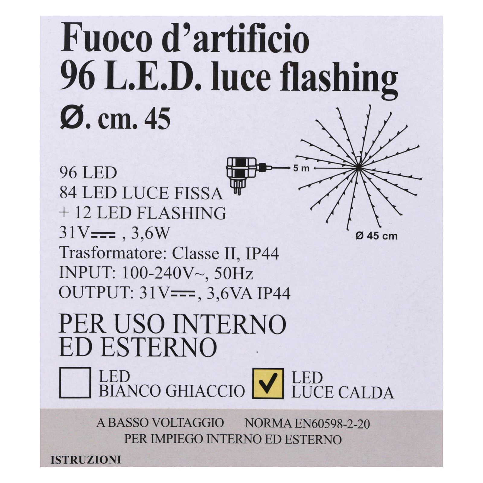 Luz Fuego Artificial 96 Led Blanco cálido interior exterior 3