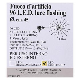 Luz Fuego Artificial 96 Led Blanco cálido interior exterior s5