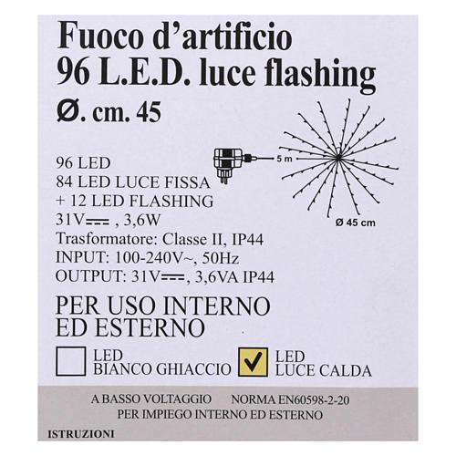 Luz Fuego Artificial 96 Led Blanco cálido interior exterior 5