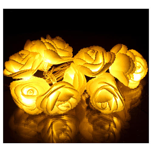 Light chain with roses 10 warm white leds for internal use 2