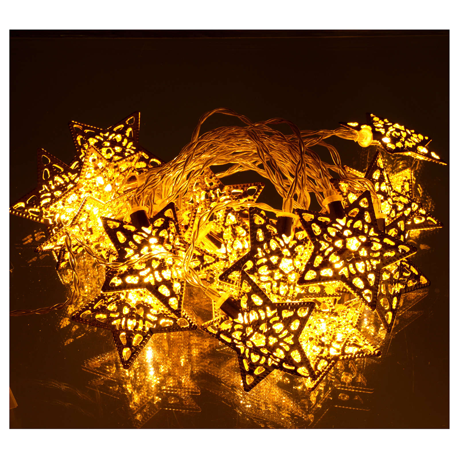 Catena 20 led bianco caldo stelle oro uso interno 3