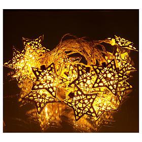 Catena 20 led bianco caldo stelle oro uso interno s2