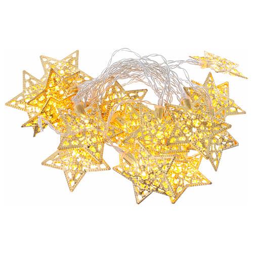 Catena 20 led bianco caldo stelle oro uso interno 1