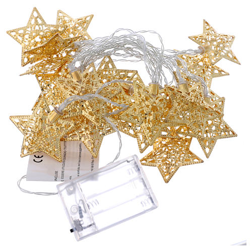 Catena 20 led bianco caldo stelle oro uso interno 4