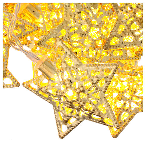 Light cable 20 leds warm white golden stars internal use 3
