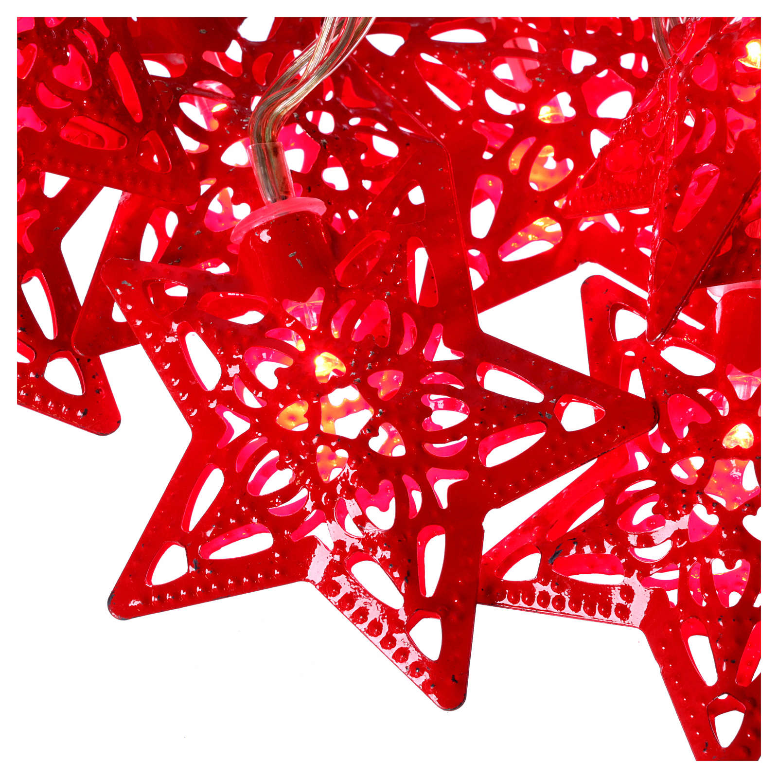 Catena 20 led rosso stelle per uso interno 3