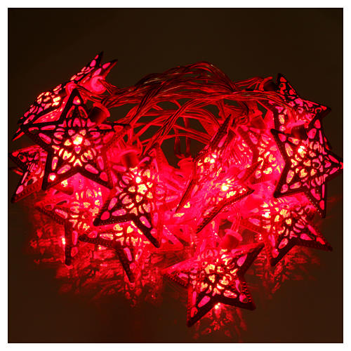 Catena 20 led rosso stelle per uso interno 2