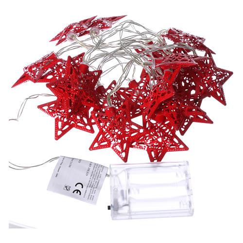 Catena 20 led rosso stelle per uso interno 4
