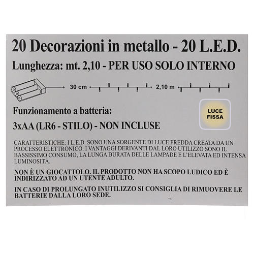Catena 20 led rosso stelle per uso interno 5