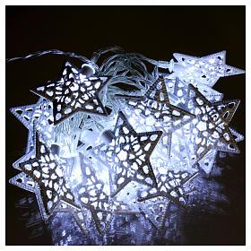 Cadena luces 20 led estrellas blanco hielo interior s2