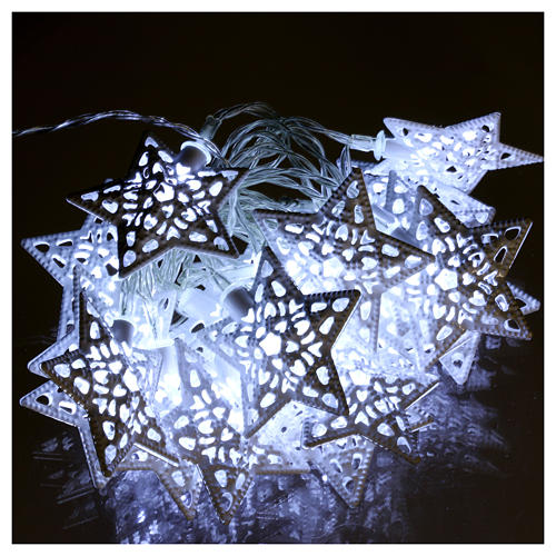 Cadena luces 20 led estrellas blanco hielo interior 2