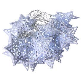 Catena luci 20 led stelle bianco ghiaccio interno s1