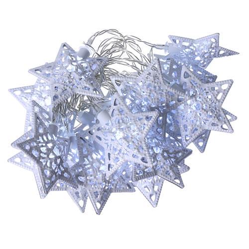 Catena luci 20 led stelle bianco ghiaccio interno 1