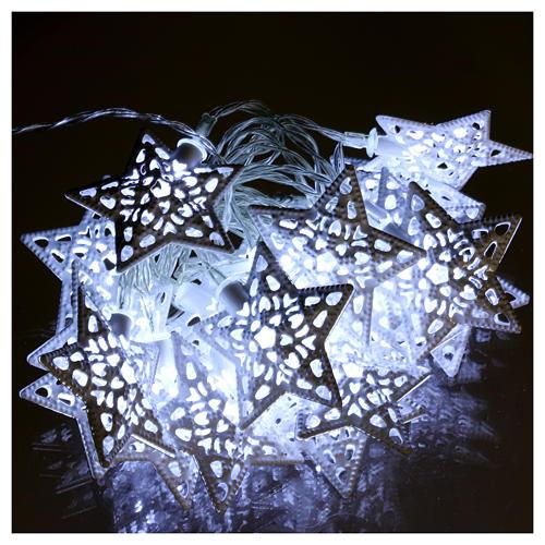 Catena luci 20 led stelle bianco ghiaccio interno 2