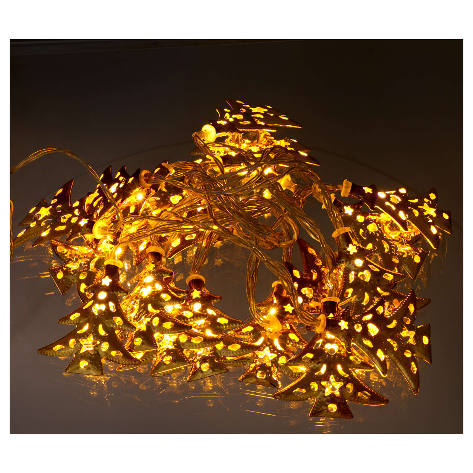 Light cable 20 leds warm white with golden trees internal use 3