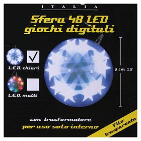 Sfera luminosa giochi luce 48 led diam. 15 cm ghiaccio s4