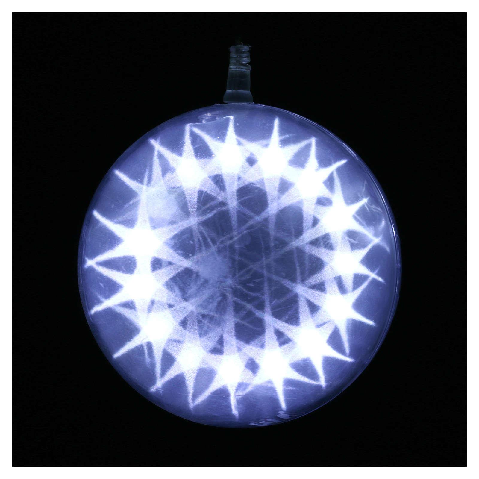 Illuminated sphere with light games 15 cm diameter ice white 3