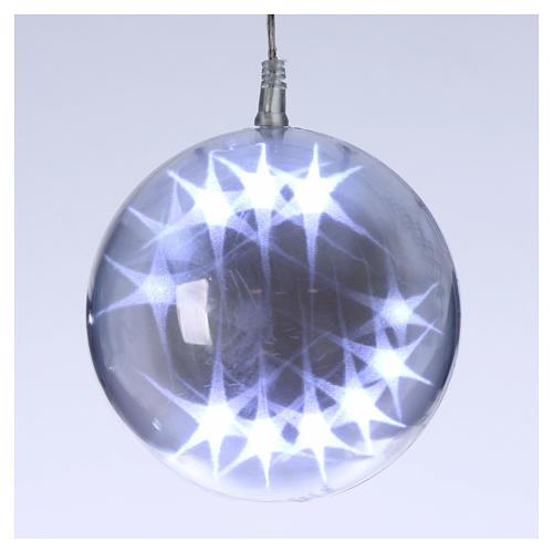 Illuminated sphere with light games 15 cm diameter ice white 1