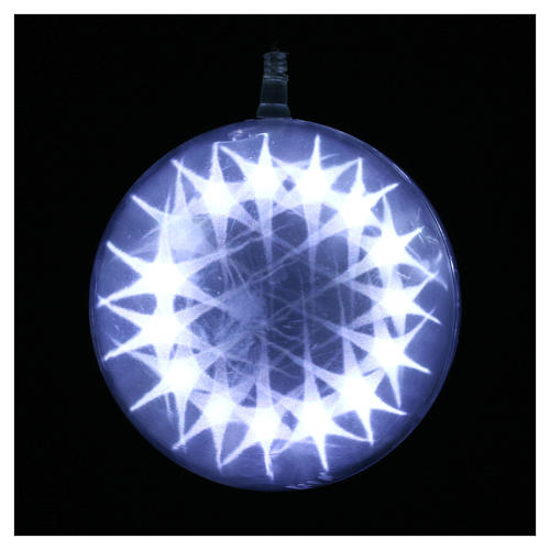 Illuminated sphere with light games 15 cm diameter ice white 2