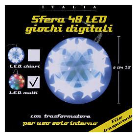 Luce natalizia sfera 48 led diam. 15 cm multicolor s8