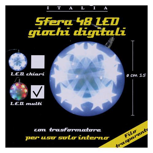 Luce natalizia sfera 48 led diam. 15 cm multicolor 8