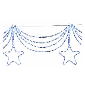 Christmas light garland with stars 576 ice white leds internal external use s3