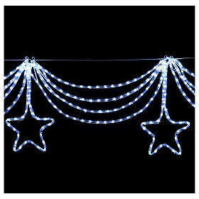 Christmas light garland with stars 576 ice white leds internal external use s4