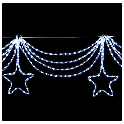 Christmas light garland with stars 576 ice white leds internal external use 4