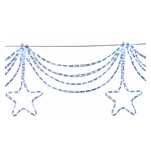 Christmas light garland with stars 576 ice white leds internal external use 3