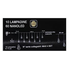 Illuminated light curtain 10 light bulbs 60 Nanoleds ice white internal and external use s5