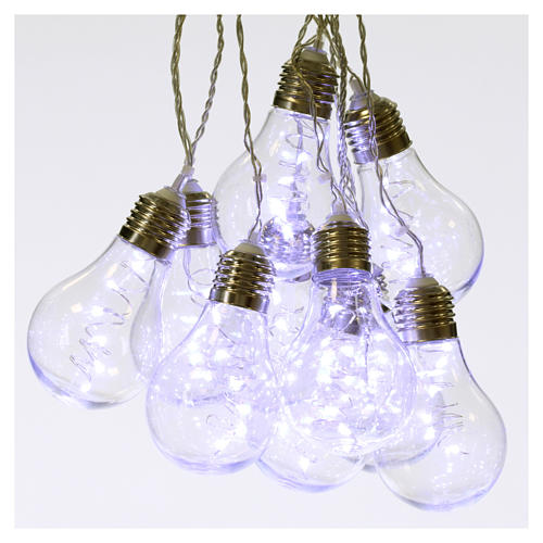 Illuminated light curtain 10 light bulbs 60 Nanoleds ice white internal and external use 1