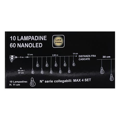 Illuminated light curtain 10 light bulbs 60 Nanoleds ice white internal and external use 5