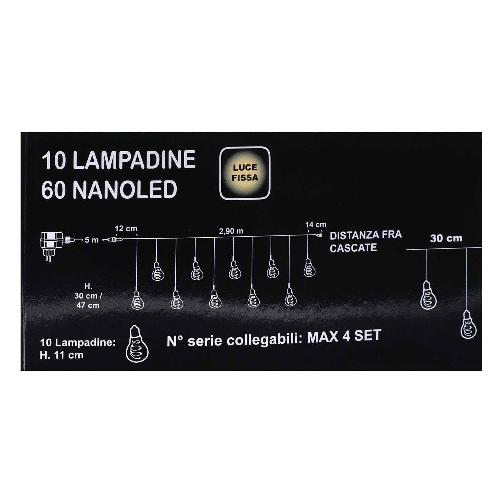 Tenda luminosa 10 lampadine 60 Nanoled ghiaccio interno esterno 3