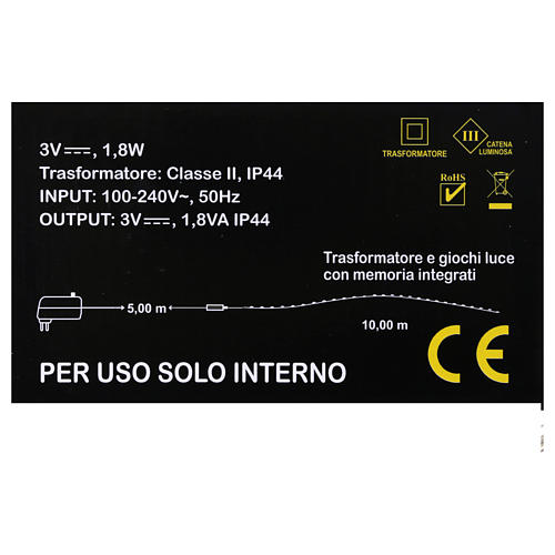 Filo Luminoso 100 nano led bianco caldo uso interno 4