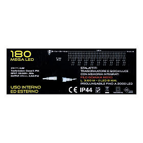 Stalactite light 180 mega leds warm white internal and external use s5