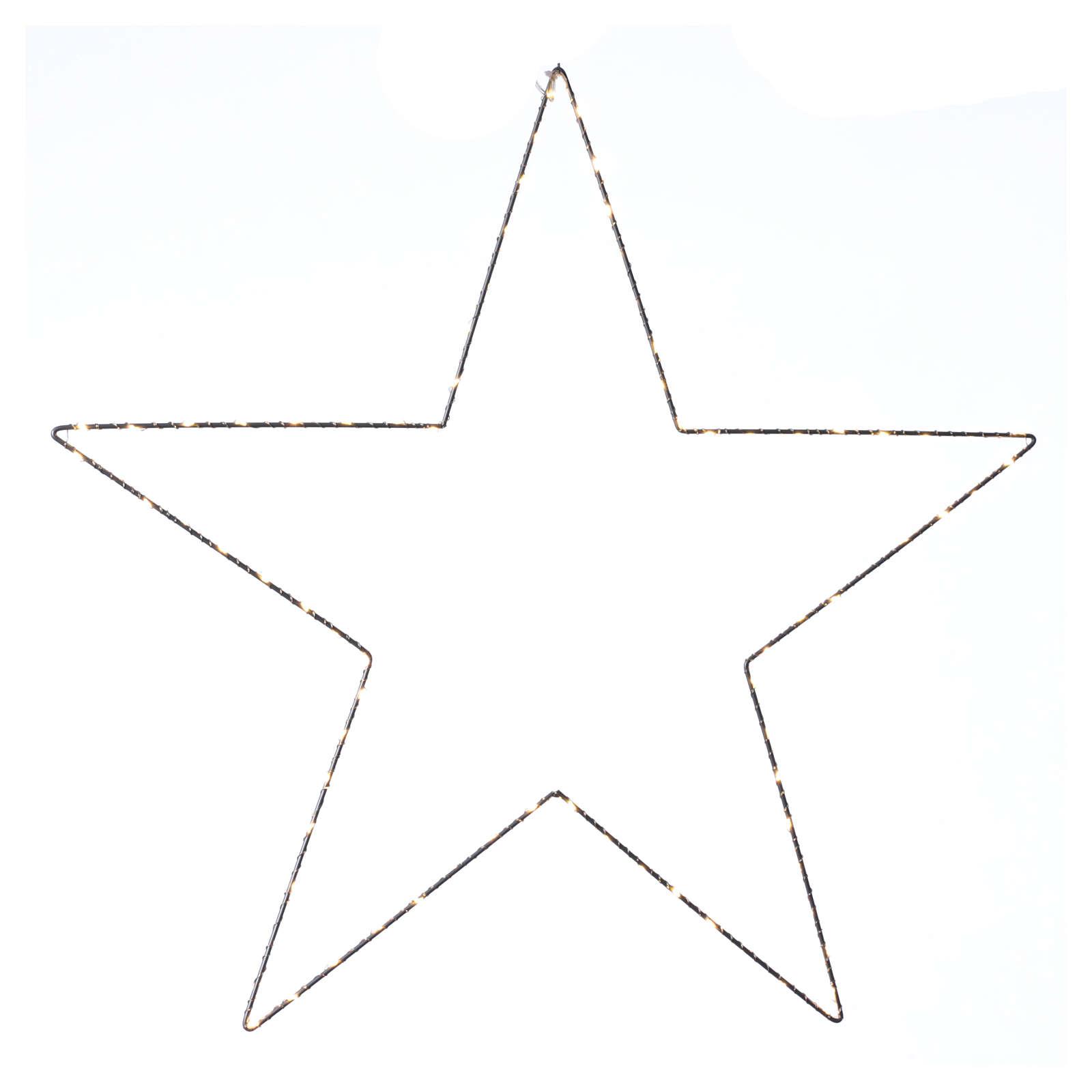 Decorazione Natalizia stella luminosa 80 LED gialloINTERNO corrente 60X60 cm 3