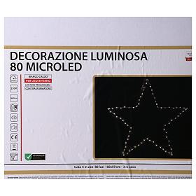 Decorazione Natalizia stella luminosa 80 LED gialloINTERNO corrente 60X60 cm s5